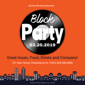 Orange Block Disco Party Online Invite