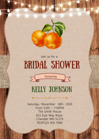 Orange bridal shower invitation