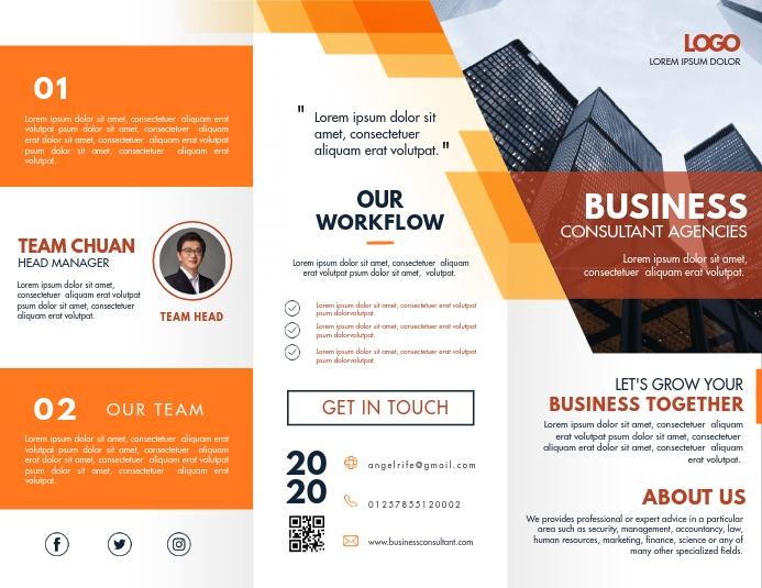 Orange Business Corporation Trifold Brochure Løbeseddel (US Letter) template