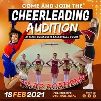 Orange Cheerleading Team Audition Instagram V Square (1:1) template