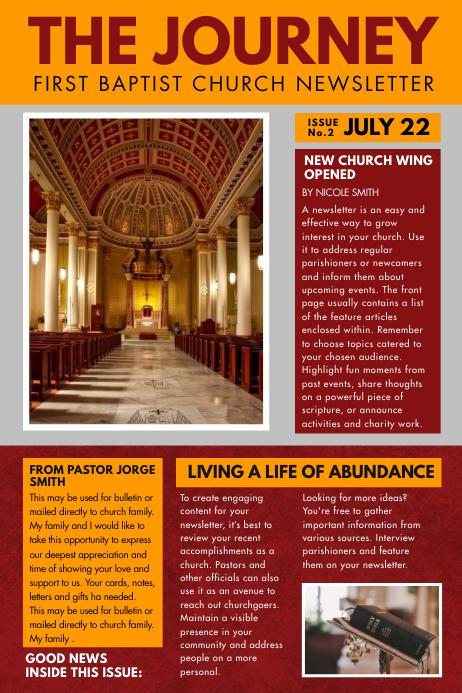 Orange Church Newspaper Ad Flyer Template Плакат