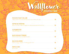 Orange Cocktail Menu Wallboard