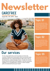 Orange Custom Branded Newsletter Page A4 template