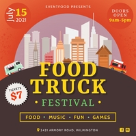 Orange Food Truck Festival Illustration Insta Instagram-bericht template