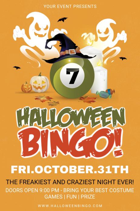 Orange Halloween Bingo Poster Template