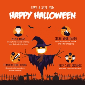 Orange Halloween Covid-19 Shopping Guidelines Instagram Post template