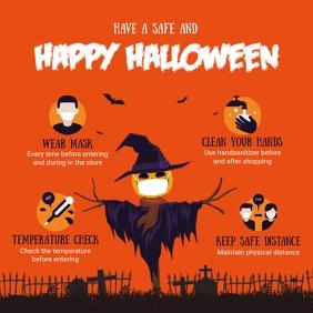 Orange Halloween Covid-19 Shopping Guidelines Instagram-Beitrag template