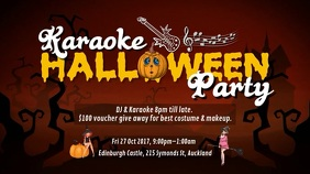 Orange Halloween Karaoke Party Video Template Digital Display (16:9)
