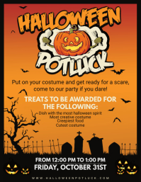 Orange Halloween Potluck Poster Template