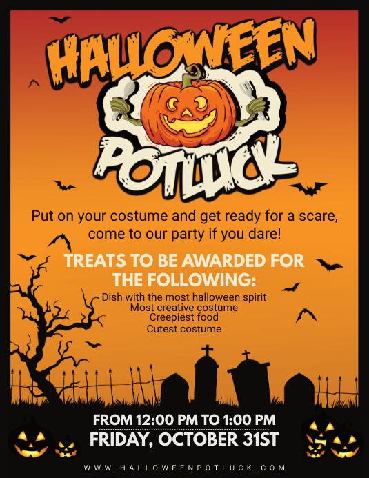 Orange Halloween Potluck Poster Template