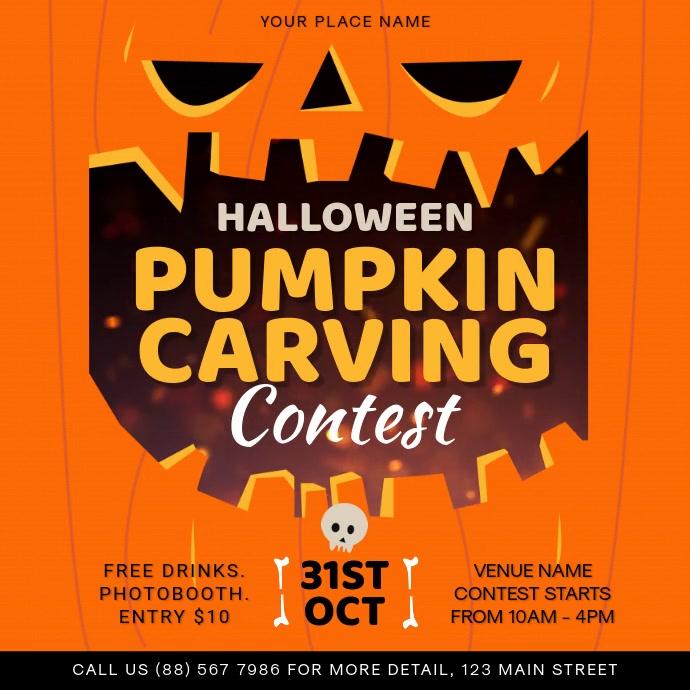 Orange Halloween Pumpkin Carving Contest Squa