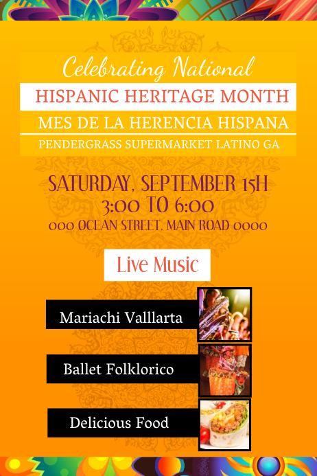 Orange Hispanic Heritage Month Event Poster
