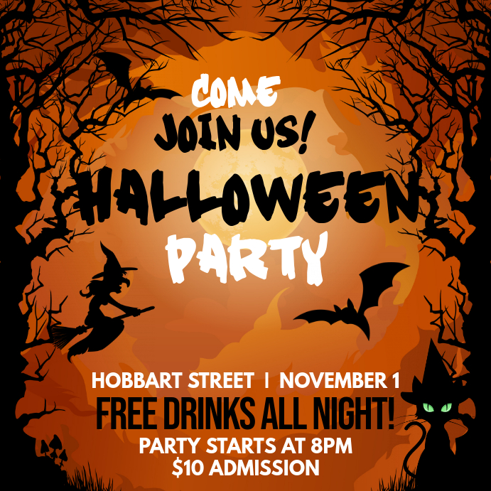 Orange Invitation for Halloween Party Social Media Post
