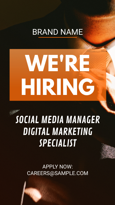 Orange Job Vacancy Instagram Story Ad template