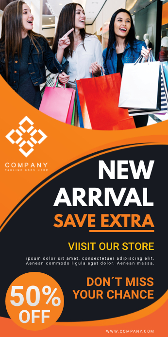 Orange Mall Sale Retail Banner Stand template