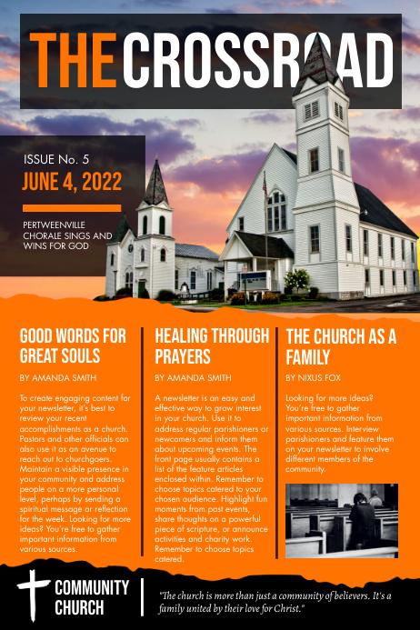 Orange Ministry Newspaper Journal Flyer Templ Poster template