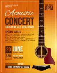 Orange Modern Acoustic Concert Flyer Template