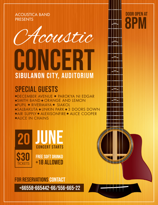 Orange Modern Acoustic Concert Flyer Template Iflaya (Incwadi ye-US)