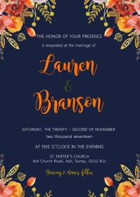 Orange navy blue wedding shower invitation