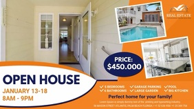 Orange Open House Real Estate Agency Ad Digitale Vertoning (16:9) template