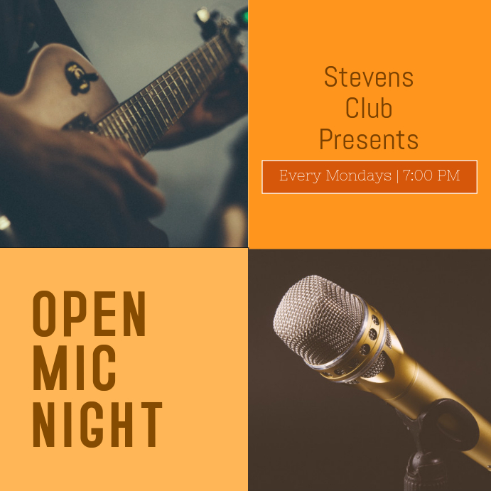 Orange Open mic night Template