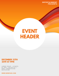 orange party flyer design template