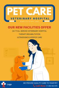 Orange Pet Clinic Advertisement Flyer Poster template