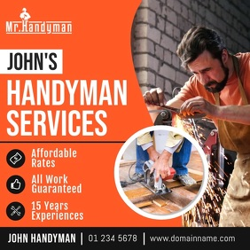 Orange Professional Handyman Services Ad Squa Square (1:1) template