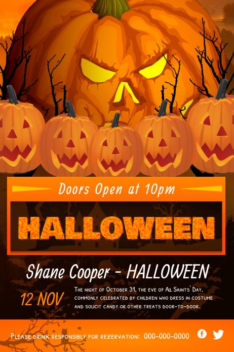 Orange Pumpkin Halloween Poster Póster template