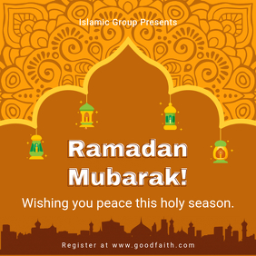 Orange Ramadan Greeting Card Template