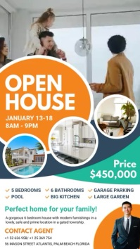 Orange Real Estate Open House Digital Display template