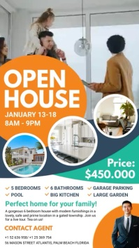 Orange Real Estate Open House Digital Display Ekran reklamowy (9:16) template