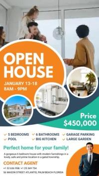 Orange Real Estate Open House Digital Display template