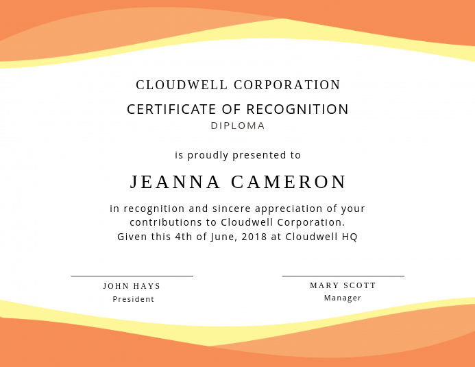 orange recognition certificate design template postermywall