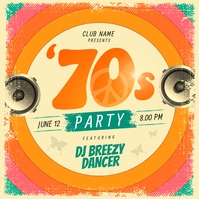 Orange Retro 70's Party Instagram Image template