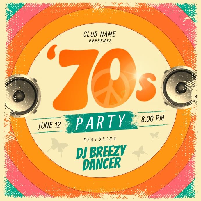 Orange Retro 70's Party Instagram Image template