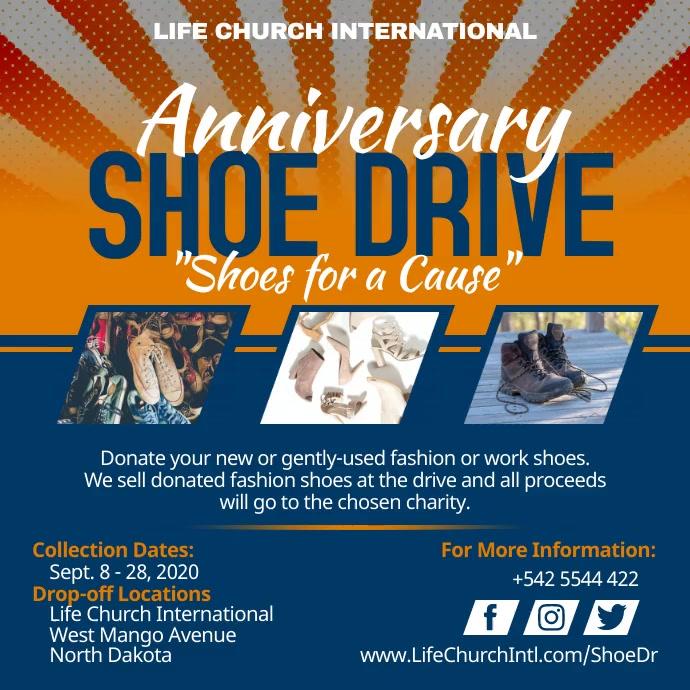 Orange Shoe Drive Charity Instagram Video Tem Instagram-bericht template