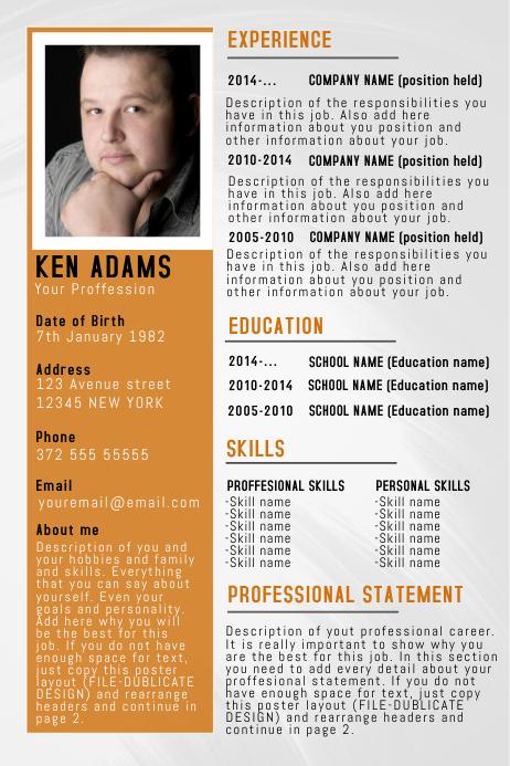 copy of orange simple free cv resume poster flyer template