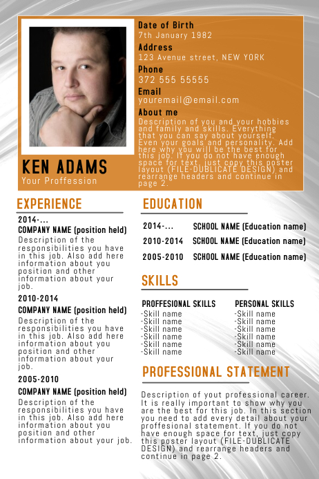 orange simple free cv resume poster flyer template