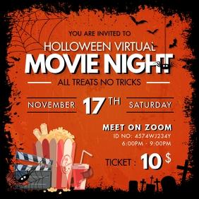 Orange Spooky Halloween Online Movie Night In
