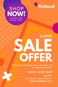 Orange Super Sale Offer Poster