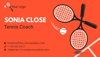 Orange Tennis Coach Business Card Wizytówka template