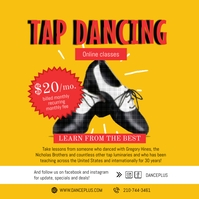 Orange Vintage Tap Dance Class Instagram Post Instagram-opslag template