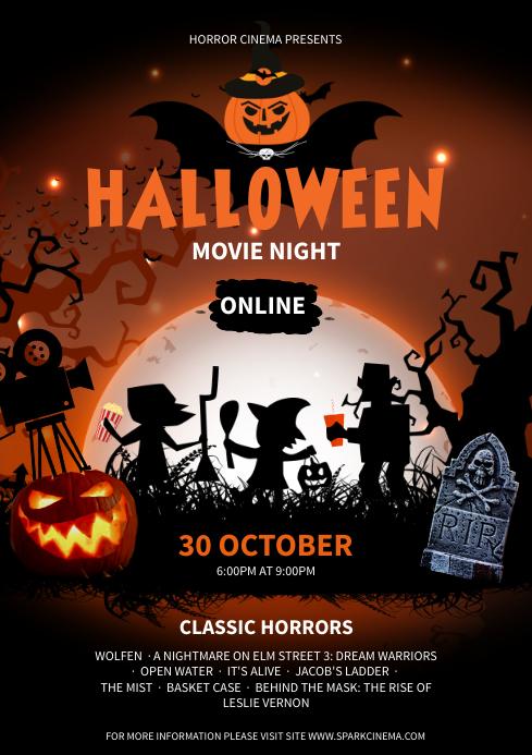Orange Virtual Movie Night Poster A4 template