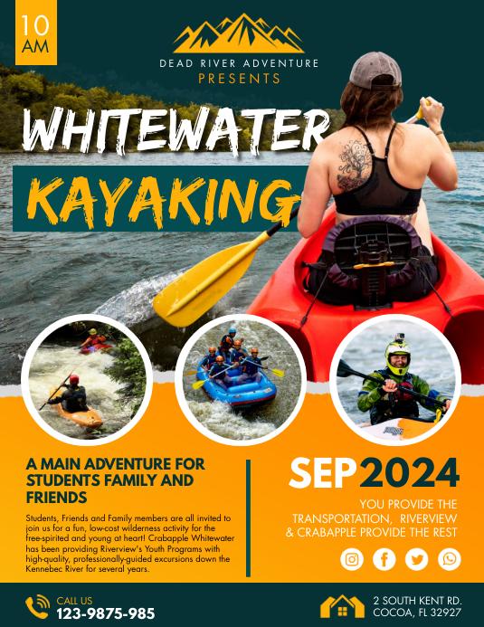 Orange Water Kayaking Adventure Tour Flyer Template