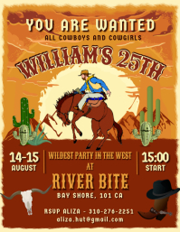Orange wild west cowboy party flyer Volante (Carta US) template