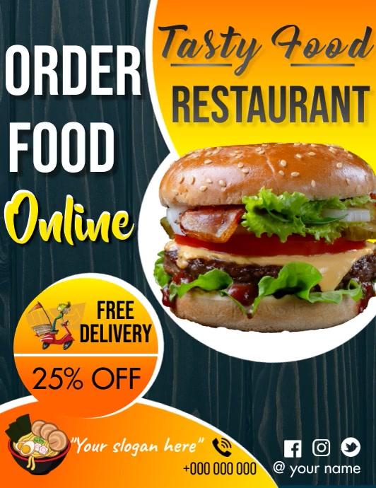 Order food online/ Restaurant menu Flyer (US Letter) template