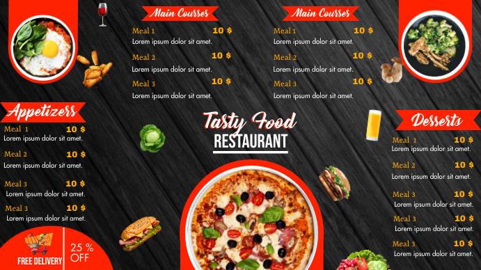 Order food online/ Restaurant menu Digital Display (16:9) template