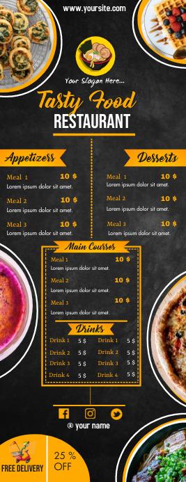 Order food online/ Restaurant menu Half Page Letter template