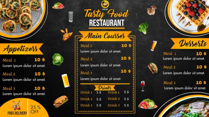 Order food online/ Restaurant menu Tampilan Digital (16:9) template